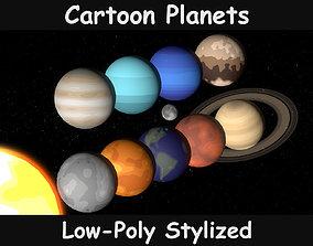 Planets Cartoon 3D model realtime
