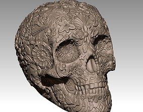 Flowered Scull 3D print model