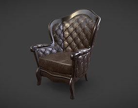 Fireplace Armchair 3D asset game-ready