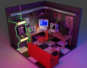 3D model 80s hackers room