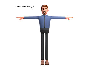 3D model Cartoon character business man office on 1