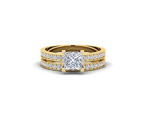 Princess Set Engagement Ring 3d Model