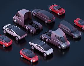 tesla 3D asset Cartoon Low Poly Tesla Cars Pack