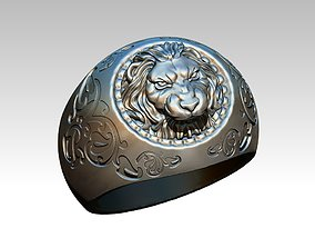 3D print model King Lion Tiger Wild Ring Carving Man