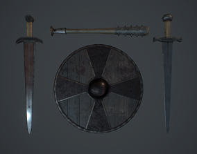 3D model Set medieval weapons