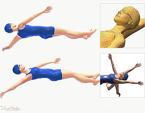 3D asset Female Swimming Back Style