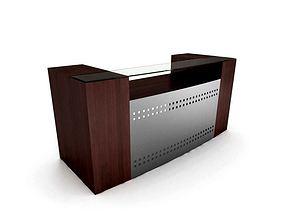Wooden Glass Top Receptionist Desk 3D
