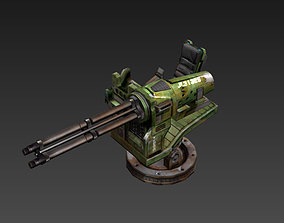 3D model Defense machine guns Gatling cartoon style