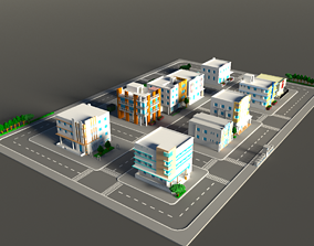 3D asset Voxel Miami Hotel Street - Pack 2