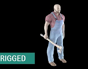 AS LumberJack with Ax - RIGGED 3D model