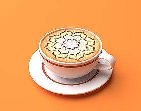 Mocha Coffee Cappuccino Espresso Cup Low Poly II 3D asset