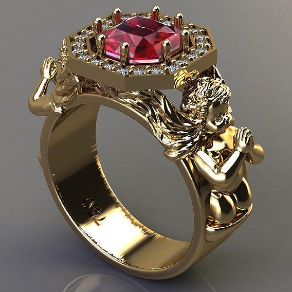 Angel baby ring