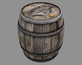 3D model game Wooden Barrel