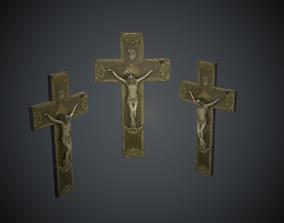 Crucifix Lowpoly Textured 3D asset