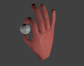 Hand with Golf Ball Rigged 3D print model