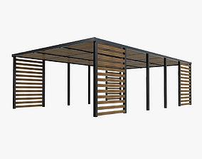 Wood patio sunshade 3D
