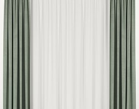 3D Green curtains with tulle