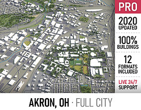 Akron - Ohio - city and surroundings 3D asset