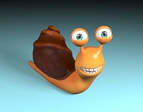 3D asset rigged Cartoon snail