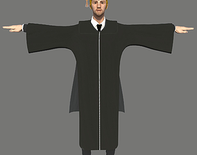 Academic Gown Male Graduate 3D model W rigged