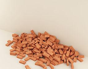 bricks 02 stack of bricks on the wall 3D model
