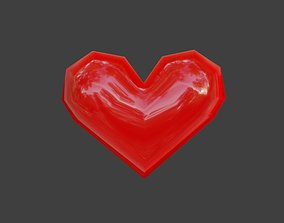 3D asset Heart Extreme Low Poly - Material - Coracao