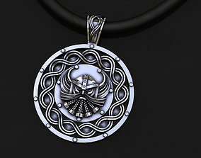 silver pendant with God one patterns 3D model