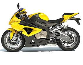 3D Yellow Sport Bike Racing Motorcycle