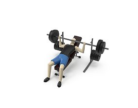 3D asset Low Poly Man Gym - Bench Press