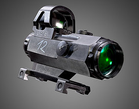 3D model 4x24mm Scope Sight Game Ready FPS AAA Asset