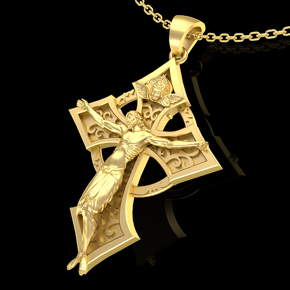 Christian Cross Pendant jewelry Gold 3D print model