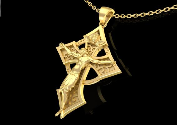 Christian Cross Pendant jewelry Gold 3D print model