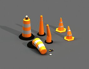 3D model Post Apocalyptic Road Cones Pylons and Barrels