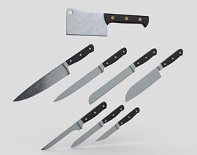 3D asset Kitchen Knife Pack