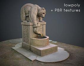 Fishing bear fountain Low-poly model VR / AR ready