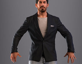 3D asset Rigged man in business casual attire with 1