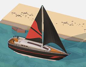 Isometric Black Yacht Scene MotorBoat Black 3D asset