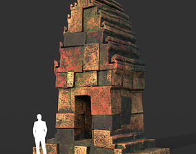 3D model Low poly Mossy Brick Ruin Asia Temple 02