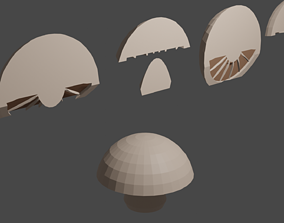 3D model sliced and slice-able mushroom