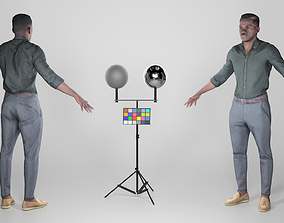 African young man in A-pose 270 3D model