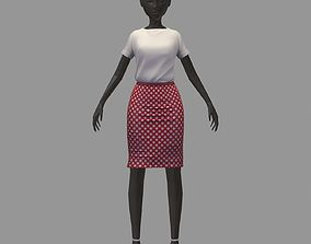 3D model stylish avatar base office girl white blouse 2