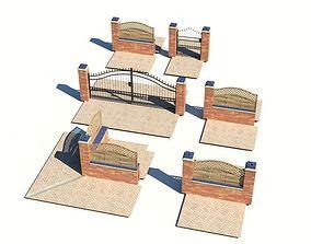 Exterior Fence Sidewalk 3D
