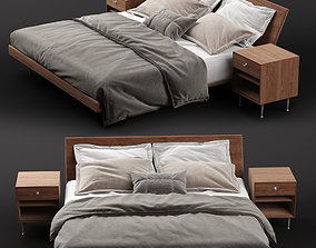 3D model Nelson Thin Edge Bed with Bedside Table
