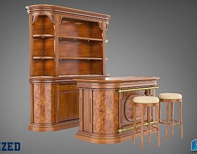 3D Bar Counter Table and Chair
