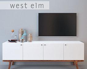 3D West Elm modern media console