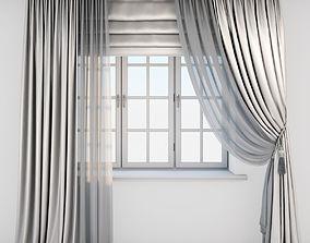 3D Light beige silk curtains