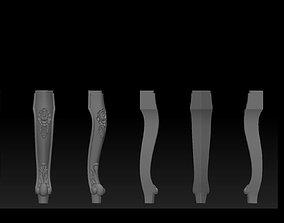 CABRIOLE CARVED Furniture Leg 3D Models set - 012