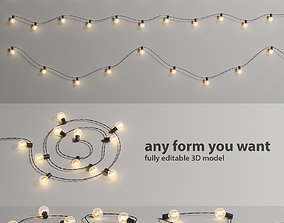 Editable Garland Lights Set 2 3D model