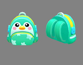 3D model Cartoon children school bag - penguin backpack