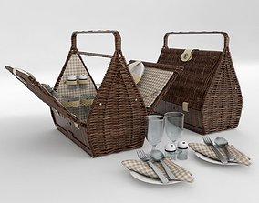 Picnic basket for 2 person 3D